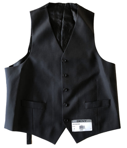 NEW Mens DKNY Black Herringbone Tonal Stripe 100% Wool Vest Size 42R