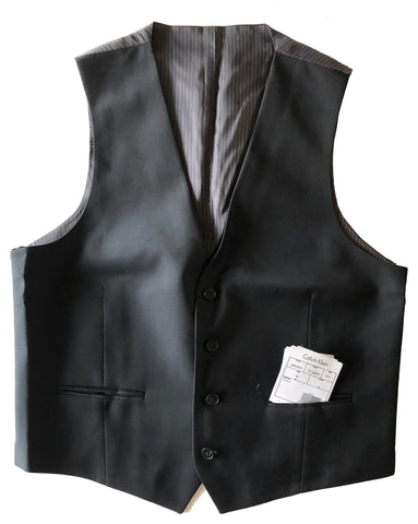 NEW Mens Calvin Klein Solid Black 100% Slim Fit Wool Vest Size 38R