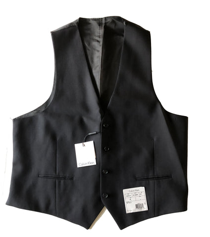 NEW Mens Calvin Klein Solid Black 100% Wool Vest Size 44R