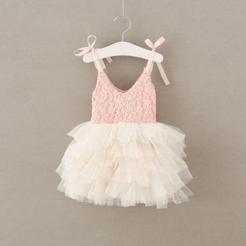 Lace Tutu Layered Dress - Pink & Cream - Ready To Ship - Katy's Princess Boutique
