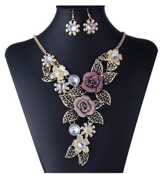 Flower Necklace & Earrings Set - Katy's Princess Boutique
