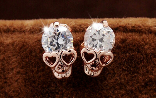 18K Gold Plated Skull Stud Earings - Katy's Princess Boutique
