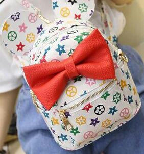 SALE $23.99- Disney Mickey Minnie Ears White & Red Bow Mini Backpack - Katy's Princess Boutique