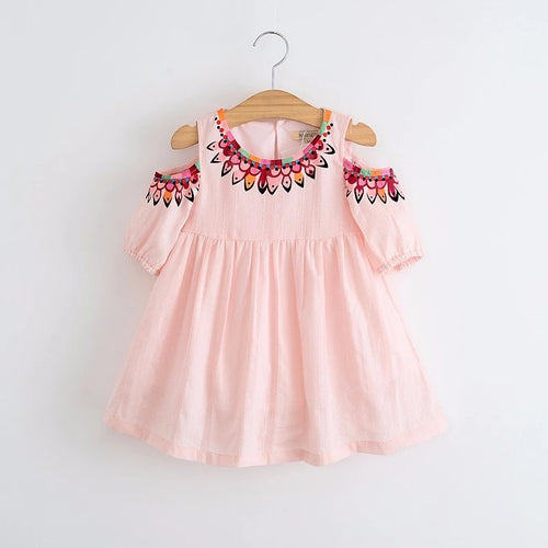Cold Shoulder Tribal Pink Dress - Ready To Ship - Katy's Princess Boutique