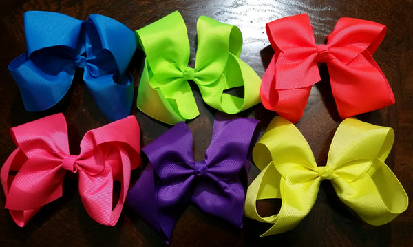 "5"" Hair Bows- Set Of 6 - Ready To Ship - Katy's Princess Boutique"