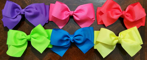 "5"" Double Stacked Bows- Set Of 6- Ready To Ship - Katy's Princess Boutique"