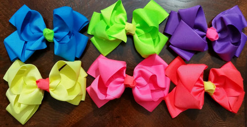"5"" Double Stacked Hair Bows- Set Of 6- Ready To Ship - Katy's Princess Boutique"