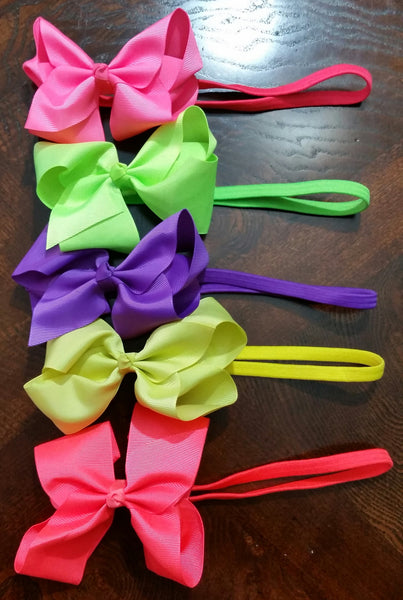 "5"" Hair Bows On Elastic Band- Set Of 5 - Ready To Ship - Katy's Princess Boutique"
