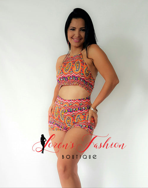 Orange Paisley Romper - Katy's Princess Boutique