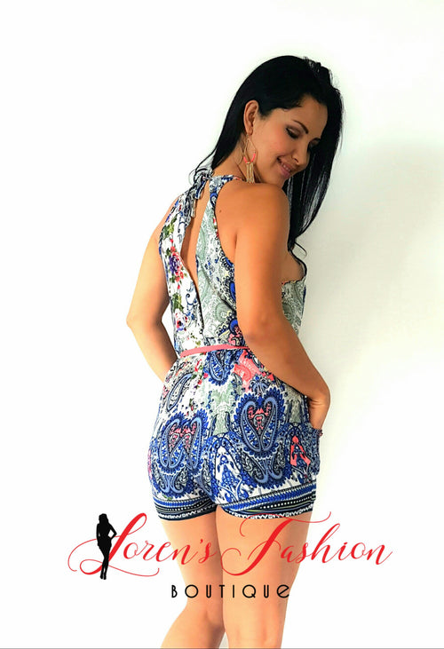 Blue Romper - Katy's Princess Boutique