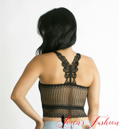 Butterfly Razor Back Crop Top- Black - Katy's Princess Boutique