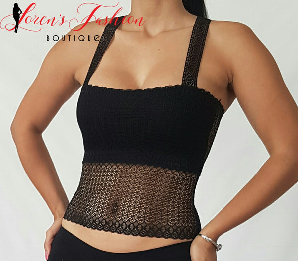 Butterfly Razor Back Top- Black Top- Loren's Fashion Boutique