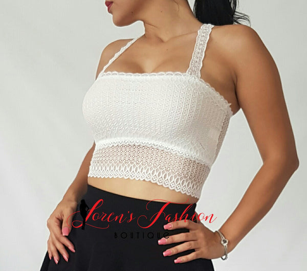 Butterfly Razor Back Crop Top- White Top- Loren's Fashion Boutique