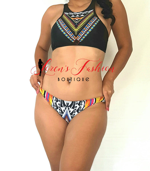 GUATEBELLA Black Colorful Tankini Swimwear- Loren's Fashion Boutique