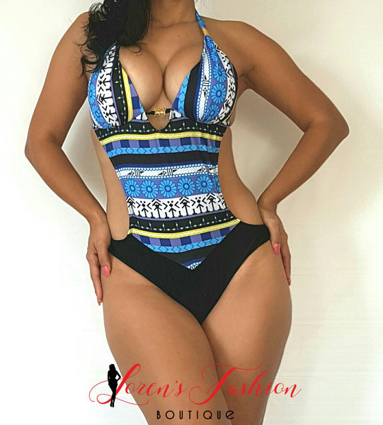 VANESSA Blue Colorful Design Monokini - Katy's Princess Boutique