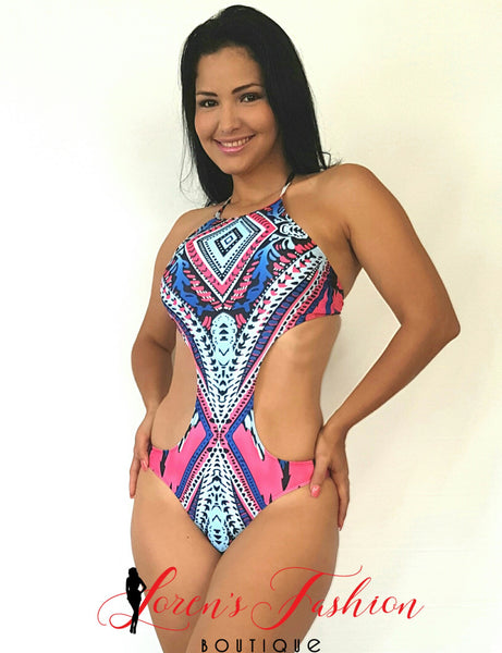STACE Pink & Blue Halter Monokini Swimwear- Loren's Fashion Boutique