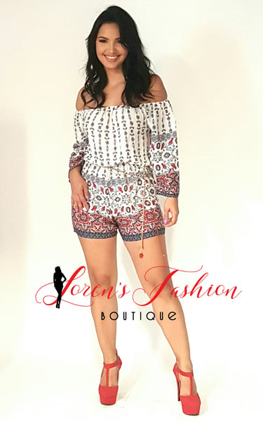 White Design Romper - Katy's Princess Boutique
