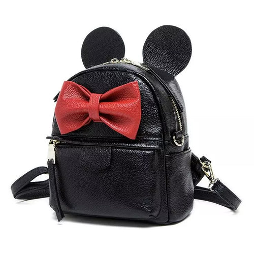 A Genuine Leather Disney Mickey Minnie Ears Black & Red Bow Medium Backpack