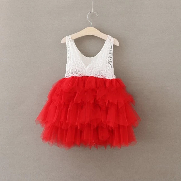 Lace Tutu Layered Dress - Red- Ready To Ship - Katy's Princess Boutique