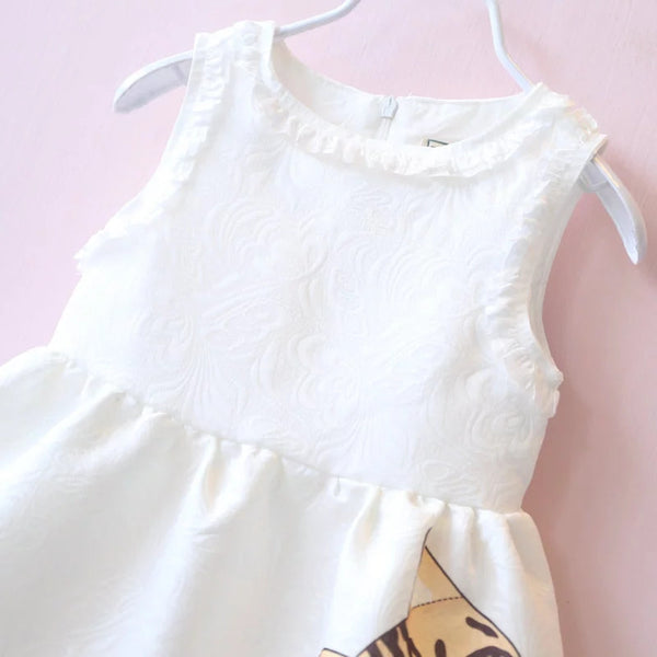 Cat White Dress- READY TO SHIP AVAILABLE - Katy's Princess Boutique