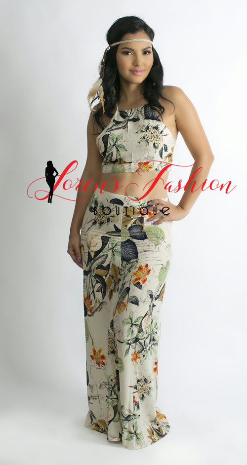 JADE Leaf Design Halter Top + Long High Waist Skirt - Katy's Princess Boutique