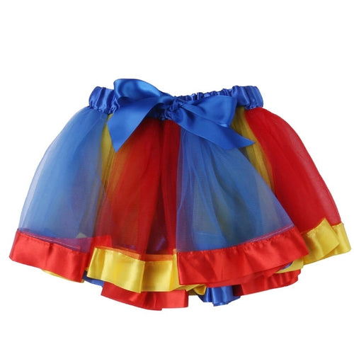 Rainbow Pettiskirt Tutu Skirt- Blue & Red- READY TO SHIP - Katy's Princess Boutique