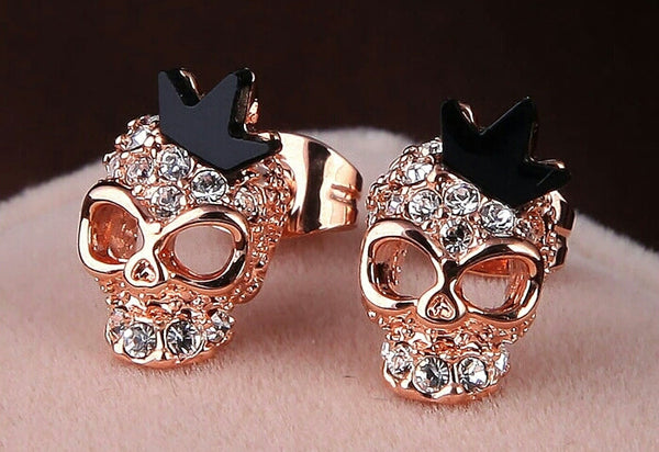 18K Rose Gold Plated Skull Stud Earings With Crown - Katy's Princess Boutique