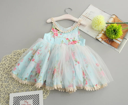 Floral Tutu Dress - Blue -  Ready To Ship - Katy's Princess Boutique
