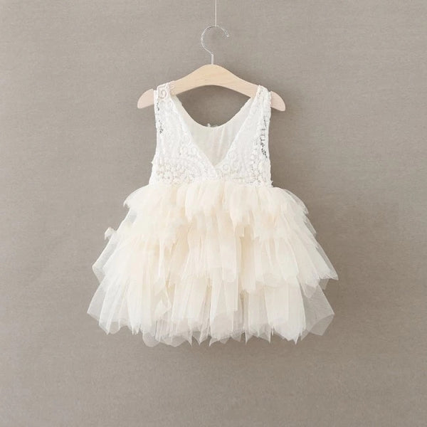 Lace Tutu Layered Dress - Cream - Ready To Ship - Katy's Princess Boutique