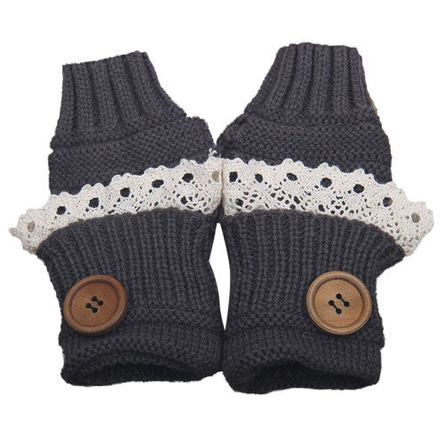 Knitted Fingerless Mittens Lace Button - Grey - Katy's Princess Boutique