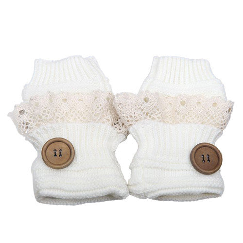 Knitted Fingerless Mittens Lace Button - White - Katy's Princess Boutique