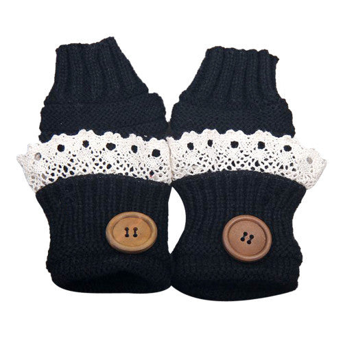 Knitted Fingerless Mittens Lace Button - Black - Katy's Princess Boutique