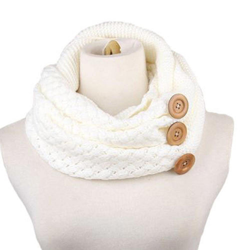 Knitted Collar Neck Scarf - White - Katy's Princess Boutique
