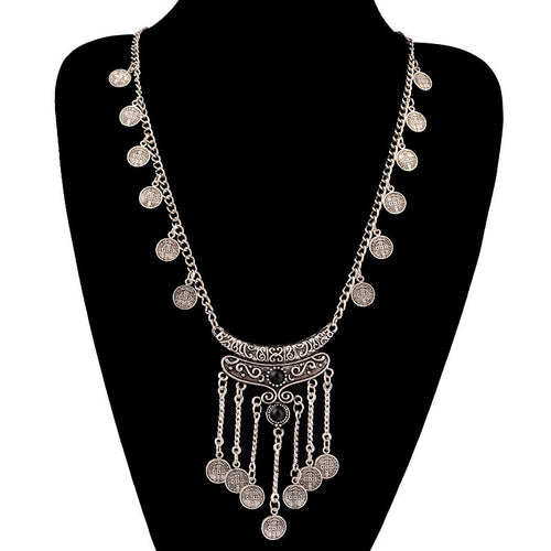 Silver Antique Boho Coin Necklace - Katy's Princess Boutique