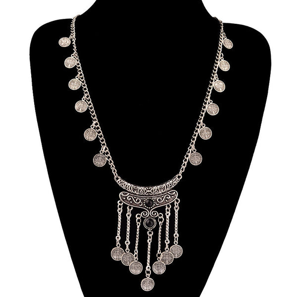 Silver Antique Boho Coin Necklace Jewelry- Loren's Fashion Boutique