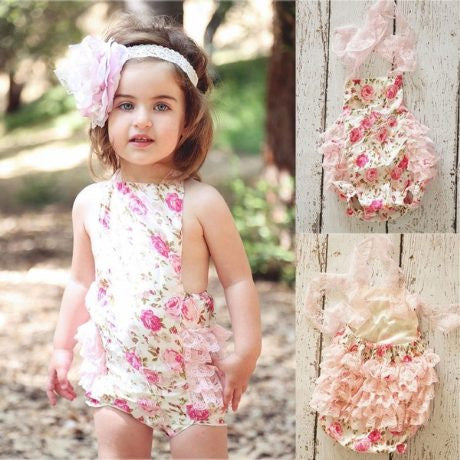 Pink Floral & Lace Romper- READY TO SHIP Available - Katy's Princess Boutique