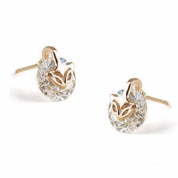 Rose Gold Plated Fox Diamond Earrings - Katy's Princess Boutique