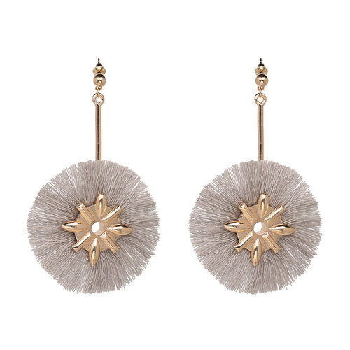 Fringe Tassel Design Earrings- Grey - Katy's Princess Boutique