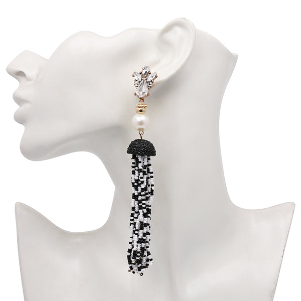 Beaded Pearl Rhinestone Tassel Earrings- Black, White - Katy's Princess Boutique
