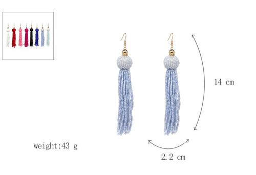 Beaded Tassel Earrings- Blue - Katy's Princess Boutique