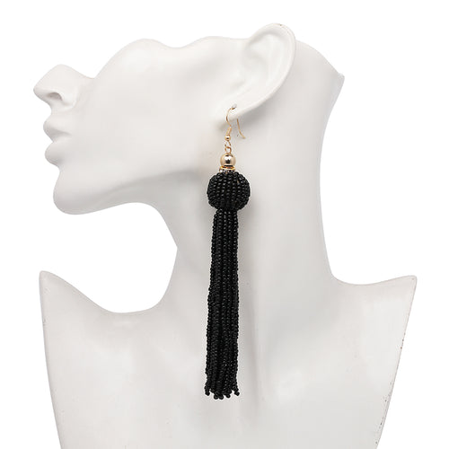 Beaded Tassel Earrings- Black - Katy's Princess Boutique