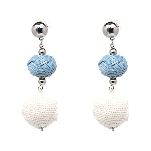 3 Tier Ball Earrings- Blue, White - Katy's Princess Boutique