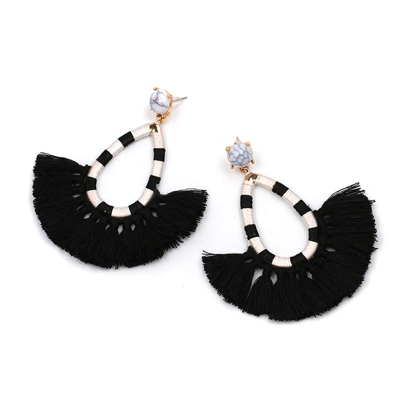 Fringe Tassel Stripped Earrings- Black & White Stripes, Black Color Fringe - Katy's Princess Boutique