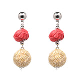 3 Tier Ball Earrings- Rosey Pink, Beige - Katy's Princess Boutique