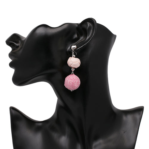 3 Tier Ball Earrings- Light Pink, Pink - Katy's Princess Boutique