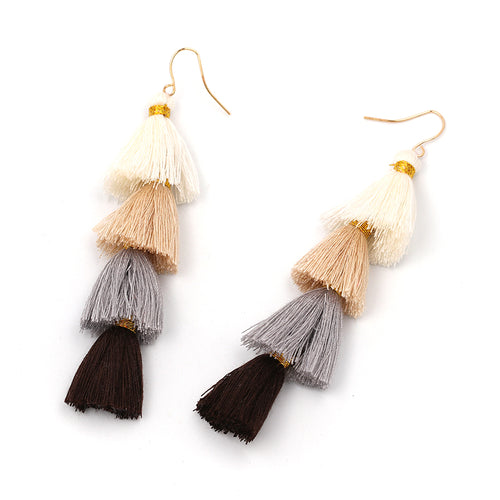 Fringe Tassel 4 Tier Earrings- White, Beige, Grey, Black - Katy's Princess Boutique