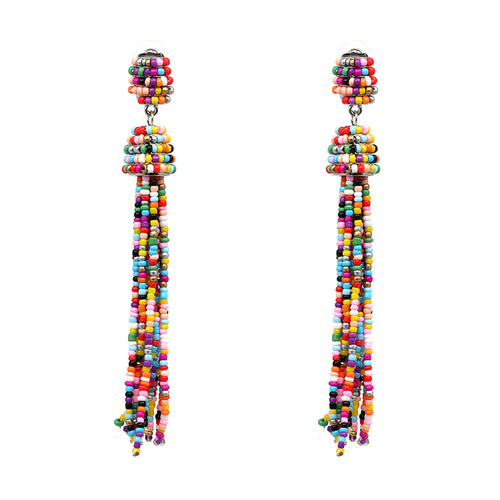 Beaded Tassel 2 Tier Long Earrings- Multi Color - Katy's Princess Boutique