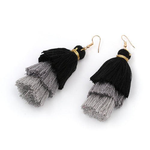 Fringe Tassel 3 Tier Earrings- Black, Grey, Light Grey - Katy's Princess Boutique