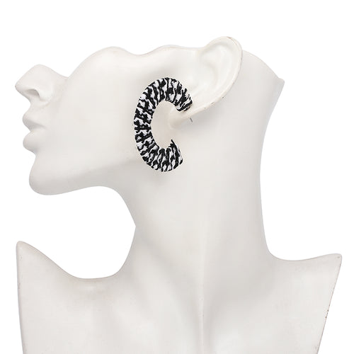 C Hoop Earrings- Black & White - Katy's Princess Boutique