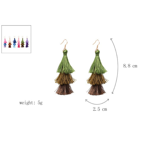 Fringe Tassel 3 Tier Earrings- Beige, Brown, Dark Brown - Katy's Princess Boutique